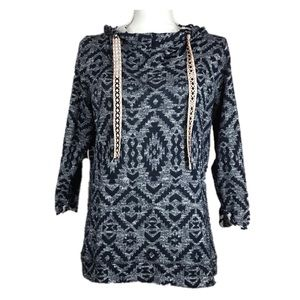 Maurices Navy Aztec Print Hooded Tunic Size M